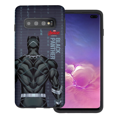 Galaxy S10 Plus Case (6.4inch) Marvel Avengers Layered Hybrid [TPU + PC] Bumper Cover - Back Panther