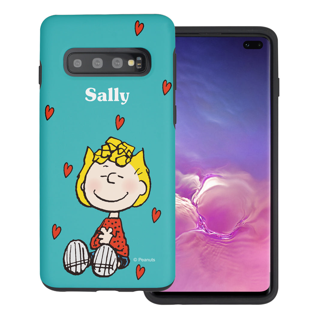 Galaxy S10 Case (6.1inch) PEANUTS Layered Hybrid [TPU + PC] Bumper Cover - Sally Heart Sit