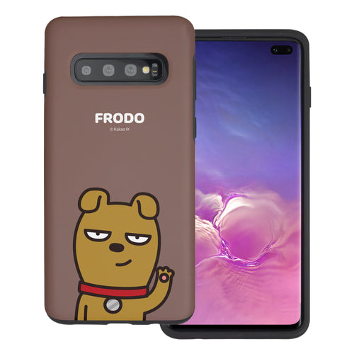 Galaxy S10 5G Case (6.7inch) Kakao Friends Layered Hybrid [TPU + PC] Bumper Cover - Greeting Frodo