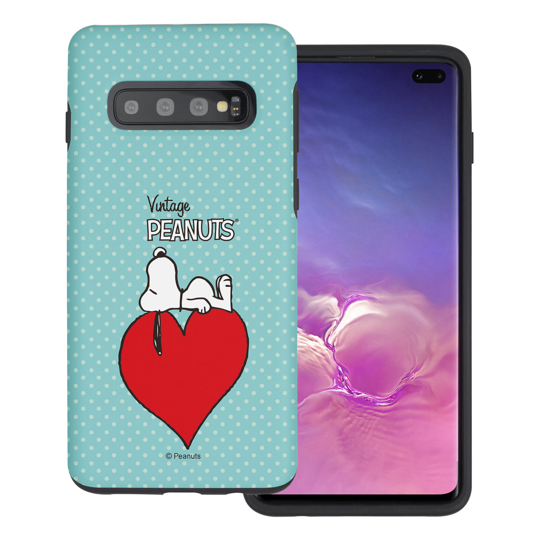 Galaxy S10 Case (6.1inch) PEANUTS Layered Hybrid [TPU + PC] Bumper Cover - Smack Snoopy Heart