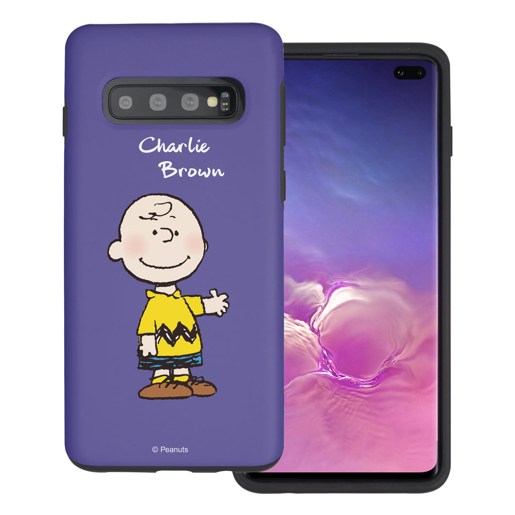 Galaxy S10e Case (5.8inch) PEANUTS Layered Hybrid [TPU + PC] Bumper Cover - Charlie Brown Stand Purple