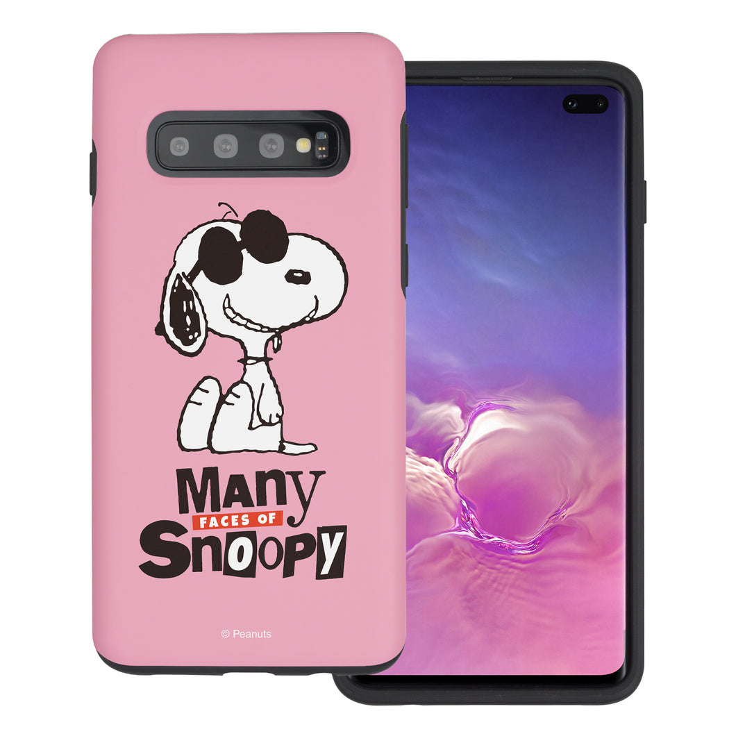 Galaxy S10e Case (5.8inch) PEANUTS Layered Hybrid [TPU + PC] Bumper Cover - Snoopy Face Baby pink