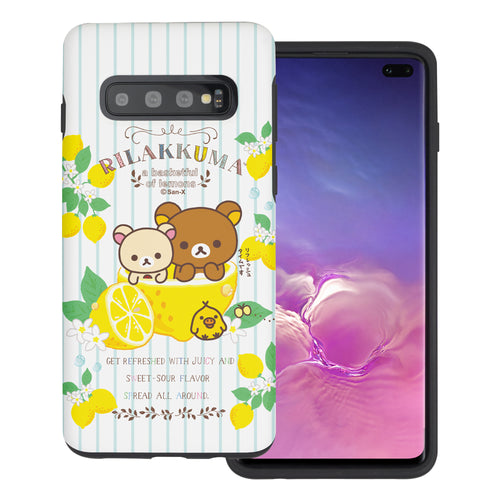 Galaxy S10e Case (5.8inch) Rilakkuma Layered Hybrid [TPU + PC] Bumper Cover - Rilakkuma Lemon
