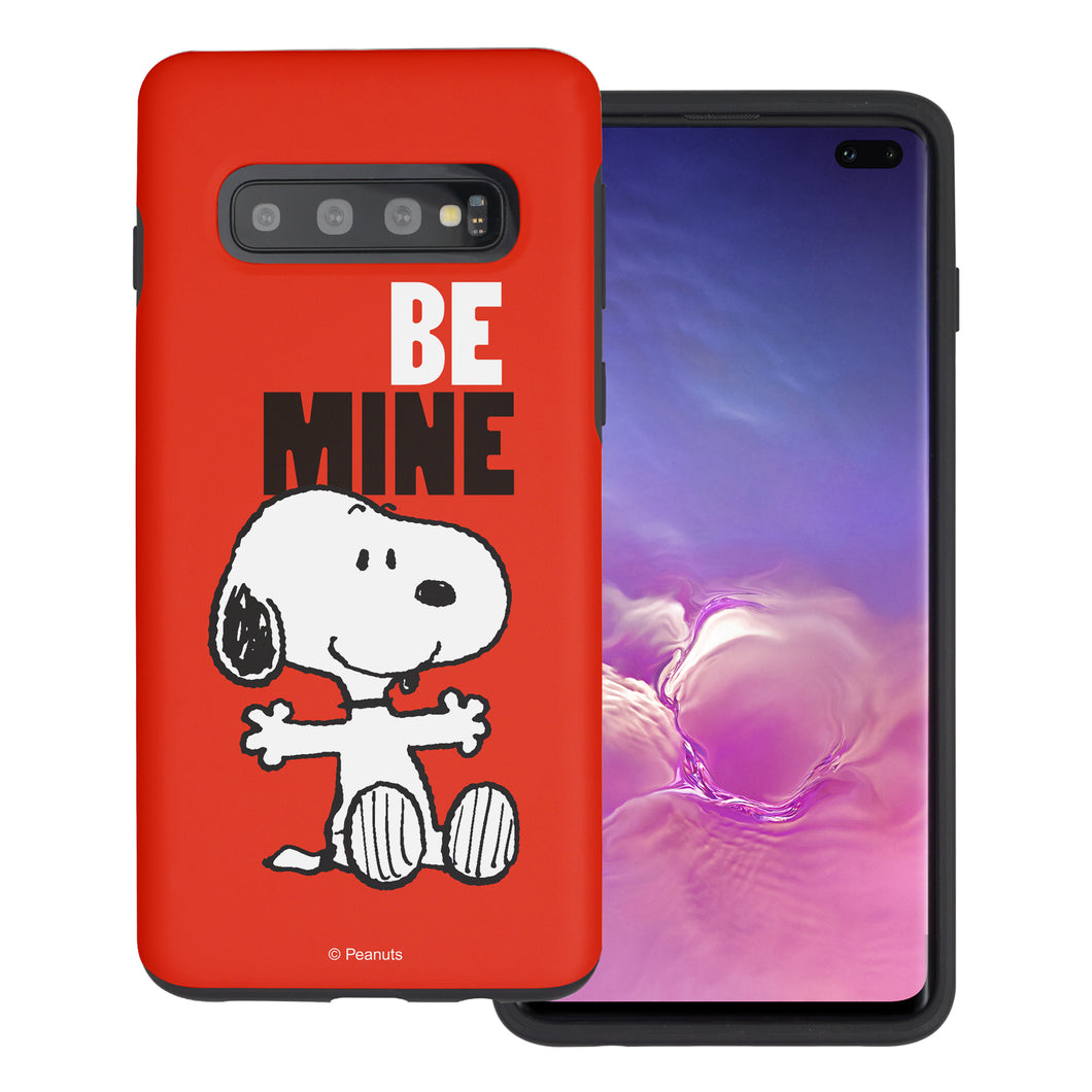 Galaxy S10 Case (6.1inch) PEANUTS Layered Hybrid [TPU + PC] Bumper Cover - Snoopy Be Mine Red