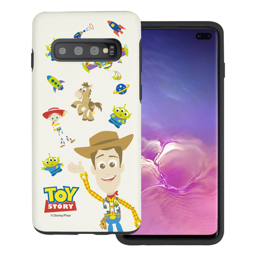 Galaxy S10 Plus Case (6.4inch) Toy Story Layered Hybrid [TPU + PC] Bumper Cover - Pattern Woody