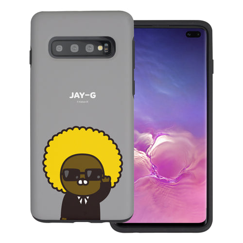 Galaxy S10 5G Case (6.7inch) Kakao Friends Layered Hybrid [TPU + PC] Bumper Cover - Greeting Jay-G