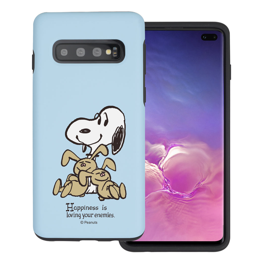 Galaxy S10e Case (5.8inch) PEANUTS Layered Hybrid [TPU + PC] Bumper Cover - Hug Snoopy Bunnies