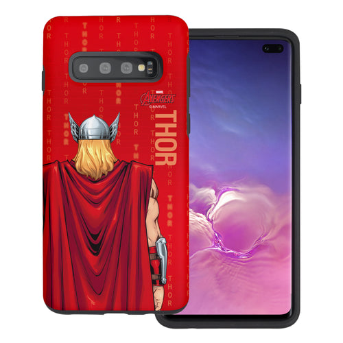 Galaxy S10 Plus Case (6.4inch) Marvel Avengers Layered Hybrid [TPU + PC] Bumper Cover - Back Tho