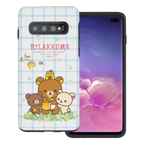 Galaxy S10e Case (5.8inch) Rilakkuma Layered Hybrid [TPU + PC] Bumper Cover - Rilakkuma Honey