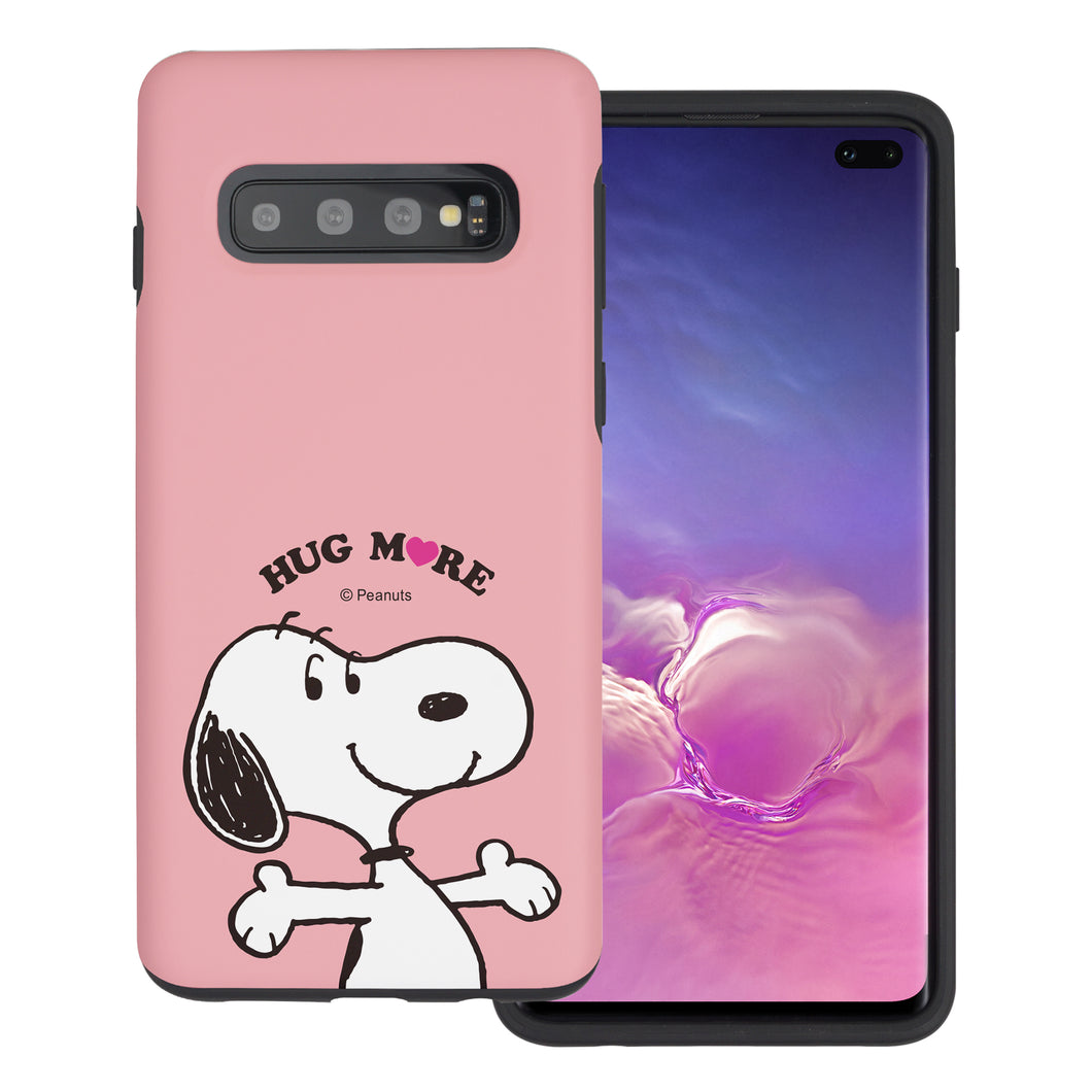 Galaxy S10 Plus Case (6.4inch) PEANUTS Layered Hybrid [TPU + PC] Bumper Cover - Hug Snoopy