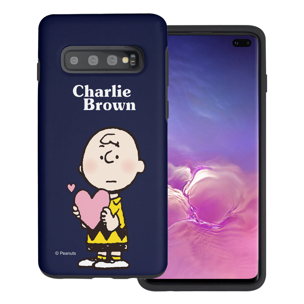 Galaxy S10 Plus Case (6.4inch) PEANUTS Layered Hybrid [TPU + PC] Bumper Cover - Charlie Brown Big Heart
