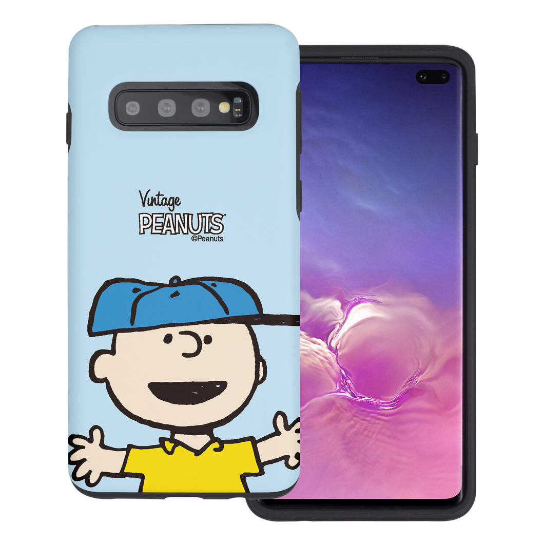 Galaxy S10 Case (6.1inch) PEANUTS Layered Hybrid [TPU + PC] Bumper Cover - Face Charlie Brown