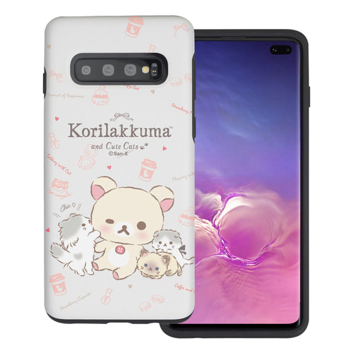 Galaxy S10e Case (5.8inch) Rilakkuma Layered Hybrid [TPU + PC] Bumper Cover - Korilakkuma Cat