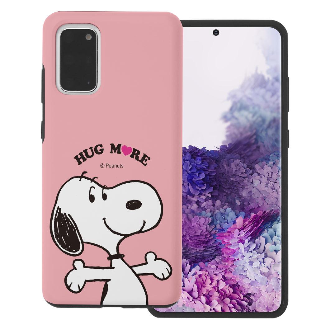 Galaxy S20 Ultra Case (6.9inch) PEANUTS Layered Hybrid [TPU + PC] Bumper Cover - Hug Snoopy