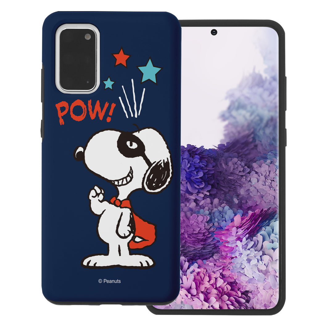 Galaxy S20 Ultra Case (6.9inch) PEANUTS Layered Hybrid [TPU + PC] Bumper Cover - Snoopy Pow Navy