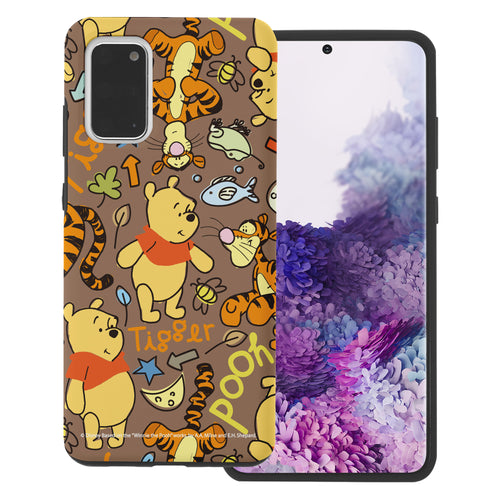 Galaxy Note20 Case (6.7inch) Disney Pooh Layered Hybrid [TPU + PC] Bumper Cover - Pattern Pooh Brown