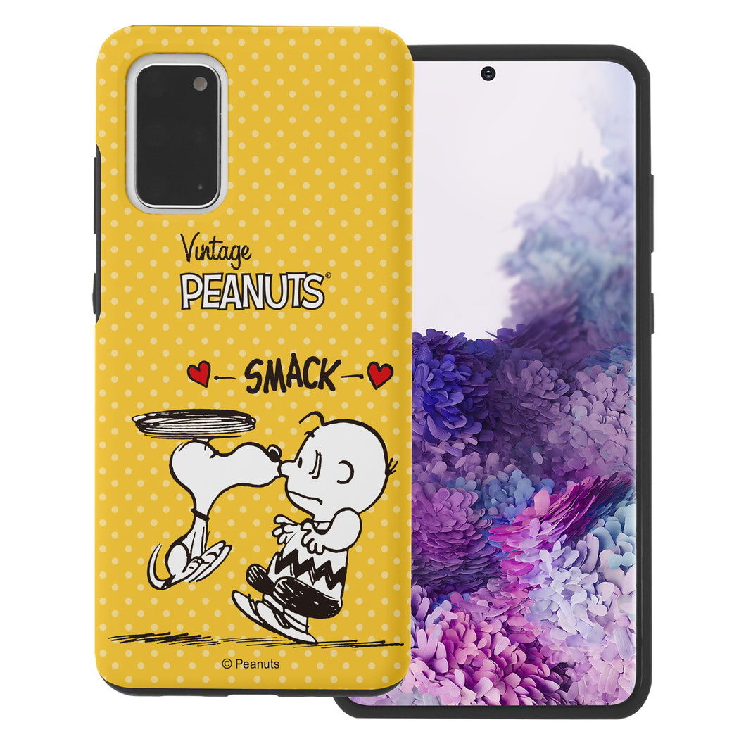 Galaxy S20 Ultra Case (6.9inch) PEANUTS Layered Hybrid [TPU + PC] Bumper Cover - Smack Snoopy Charlie Brown