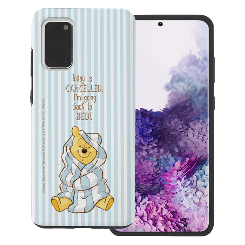 Galaxy Note20 Case (6.7inch) Disney Pooh Layered Hybrid [TPU + PC] Bumper Cover - Words Pooh Stripe