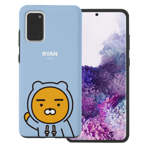 Galaxy S20 Plus Case (6.7inch) Kakao Friends Layered Hybrid [TPU + PC] Bumper Cover - Greeting Ryan Hood