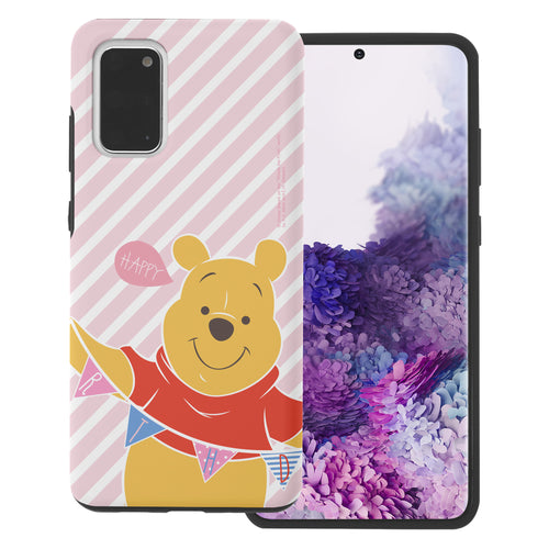 Galaxy S20 Ultra Case (6.9inch) Disney Pooh Layered Hybrid [TPU + PC] Bumper Cover - Stripe Pooh Happy