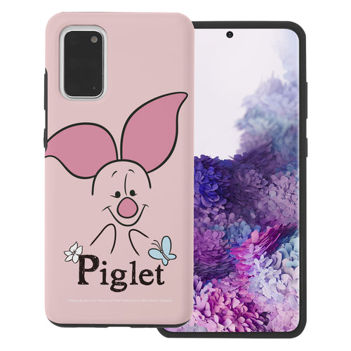 Galaxy S20 Case (6.2inch) Disney Pooh Layered Hybrid [TPU + PC] Bumper Cover - Face Line Piglet