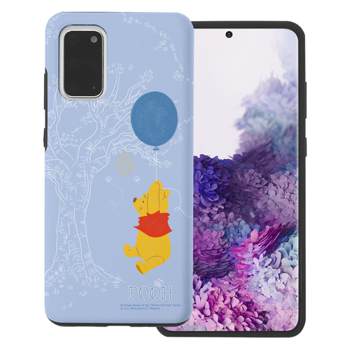 Galaxy S20 Case (6.2inch) Disney Pooh Layered Hybrid [TPU + PC] Bumper Cover - Balloon Pooh Sky