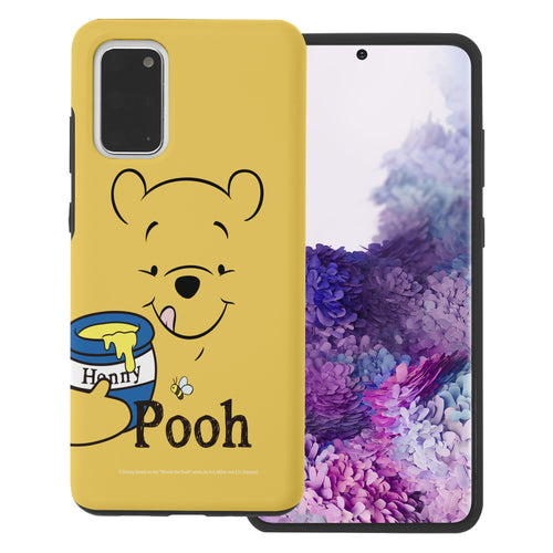 Galaxy Note20 Case (6.7inch) Disney Pooh Layered Hybrid [TPU + PC] Bumper Cover - Face Line Pooh