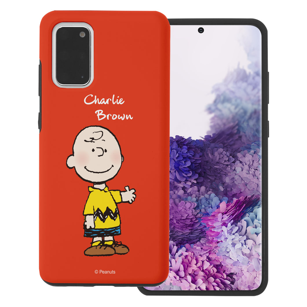 Galaxy S20 Plus Case (6.7inch) PEANUTS Layered Hybrid [TPU + PC] Bumper Cover - Charlie Brown Stand Red