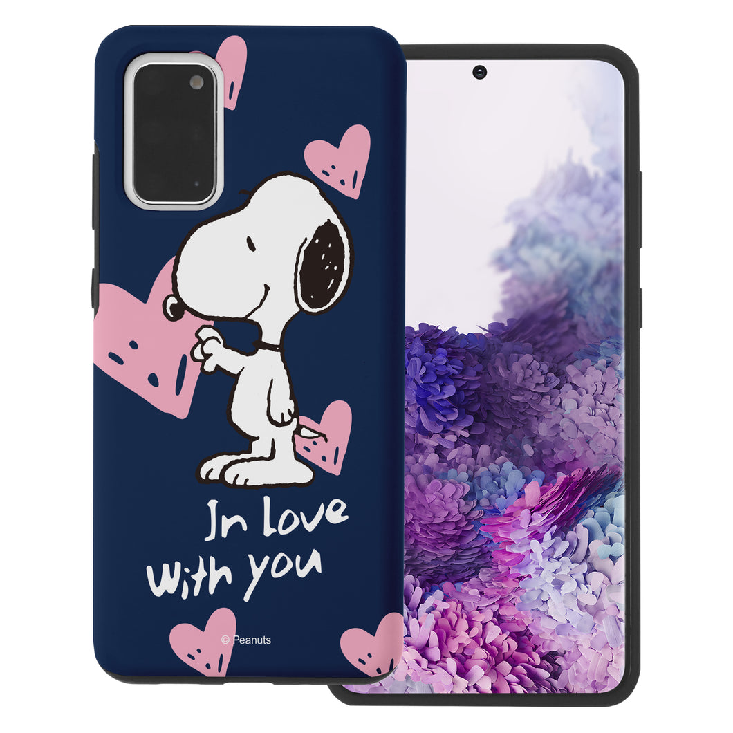 Galaxy S20 Plus Case (6.7inch) PEANUTS Layered Hybrid [TPU + PC] Bumper Cover - Snoopy In Love Navy