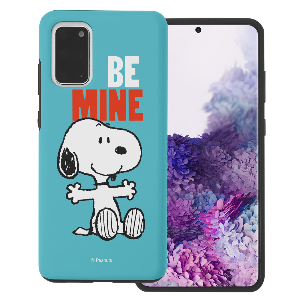 Galaxy S20 Plus Case (6.7inch) PEANUTS Layered Hybrid [TPU + PC] Bumper Cover - Snoopy Be Mine Cyan