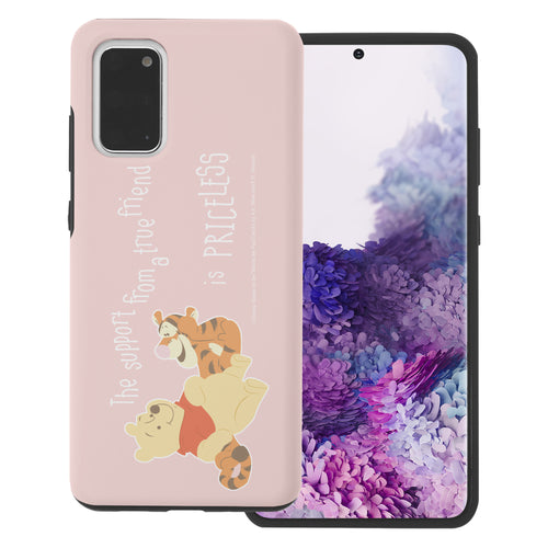 Galaxy S20 Case (6.2inch) Disney Pooh Layered Hybrid [TPU + PC] Bumper Cover - Words Pooh Tigger