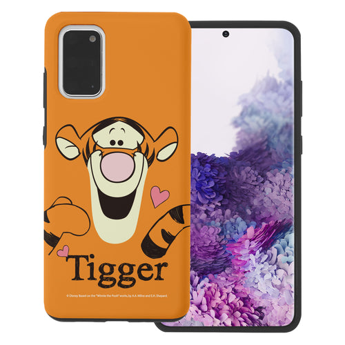 Galaxy S20 Case (6.2inch) Disney Pooh Layered Hybrid [TPU + PC] Bumper Cover - Face Line Tigger