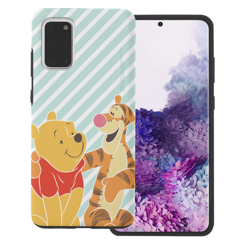Galaxy S20 Ultra Case (6.9inch) Disney Pooh Layered Hybrid [TPU + PC] Bumper Cover - Stripe Pooh Tigger