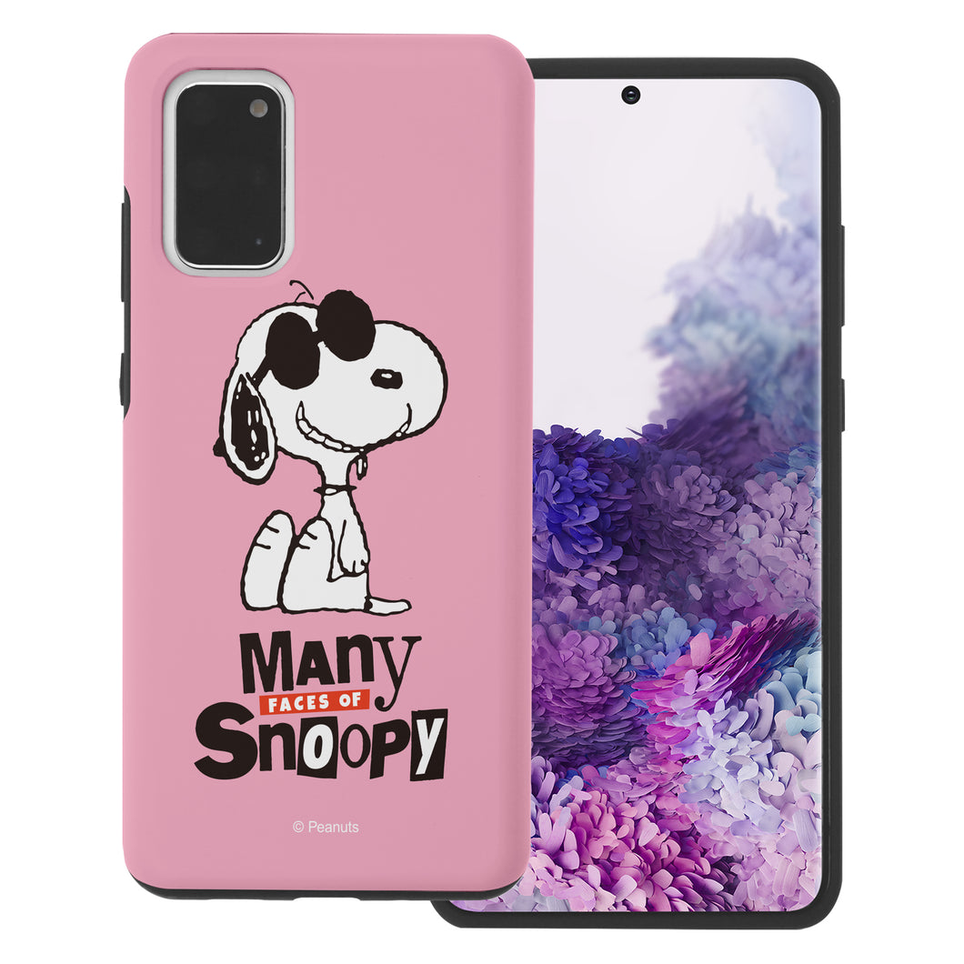 Galaxy S20 Case (6.2inch) PEANUTS Layered Hybrid [TPU + PC] Bumper Cover - Snoopy Face Baby pink