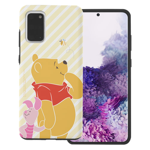 Galaxy S20 Case (6.2inch) Disney Pooh Layered Hybrid [TPU + PC] Bumper Cover - Stripe Pooh Bee