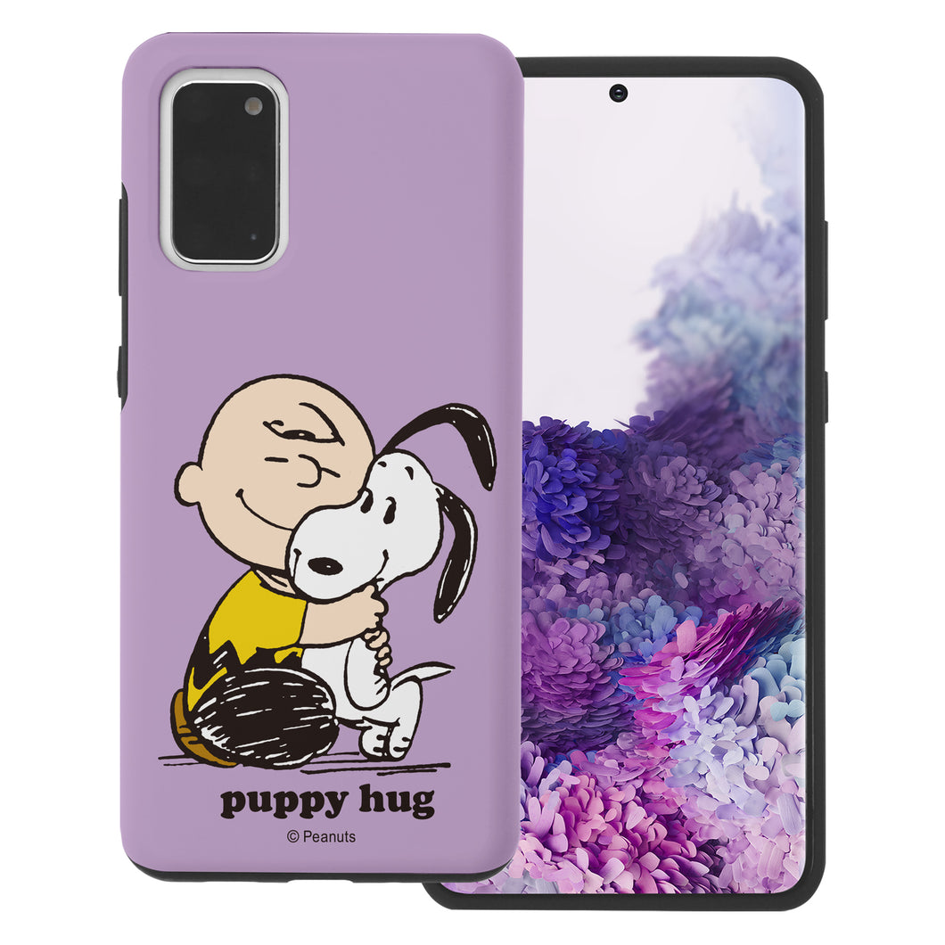 Galaxy S20 Case (6.2inch) PEANUTS Layered Hybrid [TPU + PC] Bumper Cover - Hug Charlie Brown
