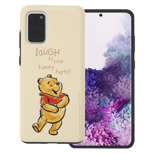 Galaxy S20 Case (6.2inch) Disney Pooh Layered Hybrid [TPU + PC] Bumper Cover - Words Pooh Laugh