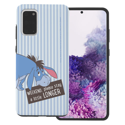 Galaxy S20 Case (6.2inch) Disney Pooh Layered Hybrid [TPU + PC] Bumper Cover - Words Eeyore Stripe