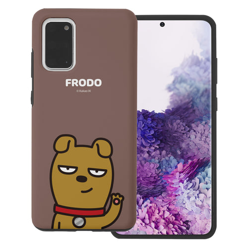 Galaxy S20 Plus Case (6.7inch) Kakao Friends Layered Hybrid [TPU + PC] Bumper Cover - Greeting Frodo