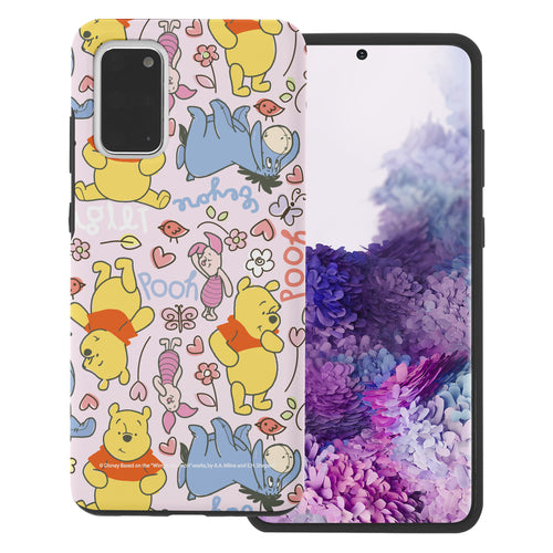 Galaxy Note20 Case (6.7inch) Disney Pooh Layered Hybrid [TPU + PC] Bumper Cover - Pattern Pooh Pink