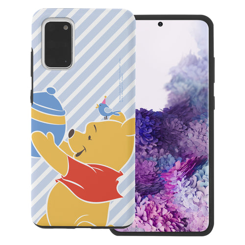 Galaxy S20 Ultra Case (6.9inch) Disney Pooh Layered Hybrid [TPU + PC] Bumper Cover - Stripe Pooh Bird