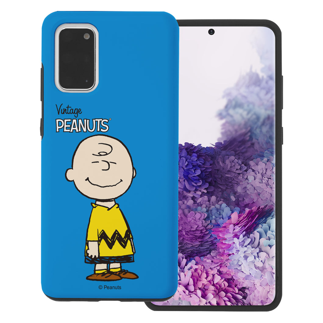 Galaxy S20 Ultra Case (6.9inch) PEANUTS Layered Hybrid [TPU + PC] Bumper Cover - Simple Charlie Brown