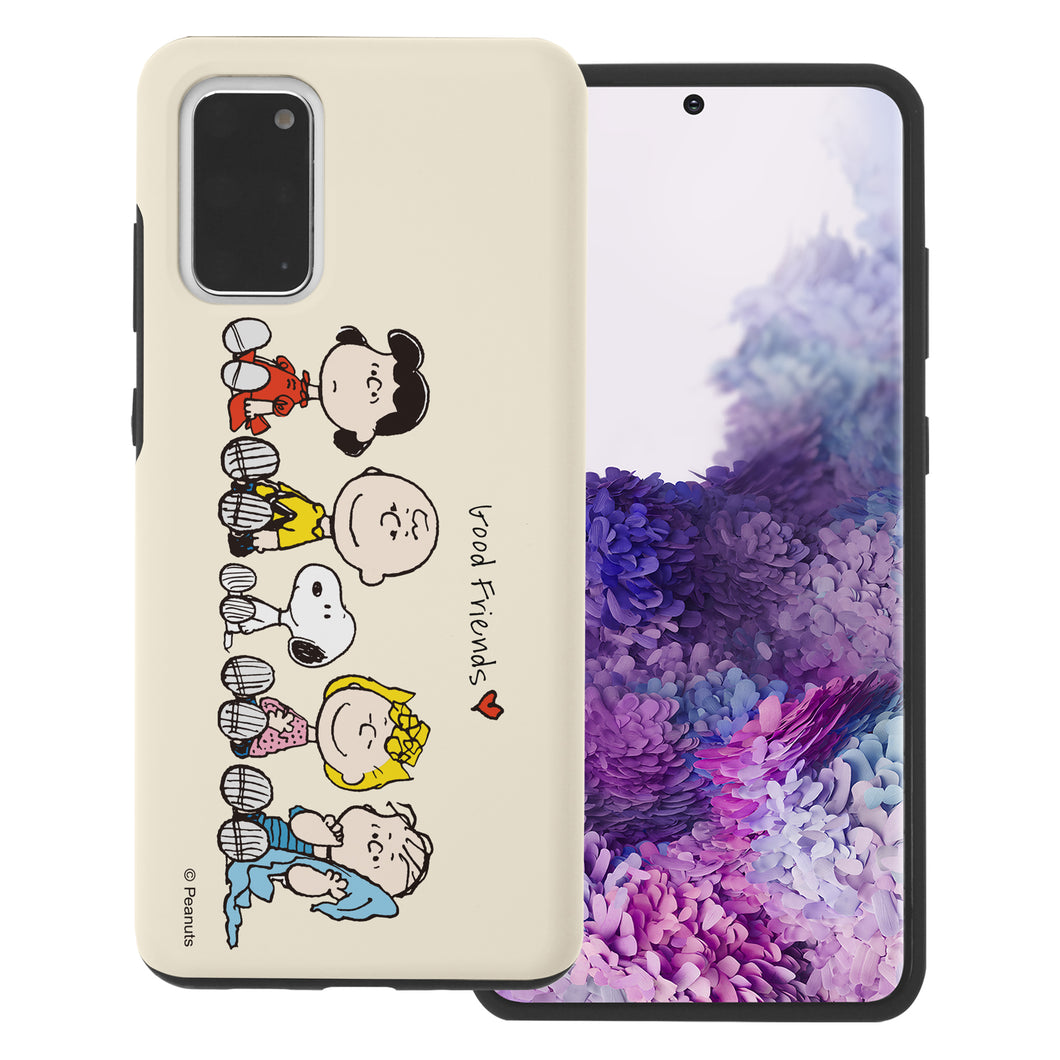 Galaxy S20 Case (6.2inch) PEANUTS Layered Hybrid [TPU + PC] Bumper Cover - Peanuts Friends Sit