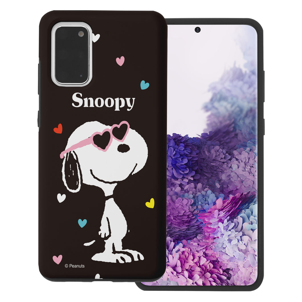 Galaxy S20 Ultra Case (6.9inch) PEANUTS Layered Hybrid [TPU + PC] Bumper Cover - Snoopy Heart Glasses Black
