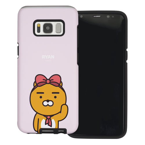 Galaxy S7 Edge Case Kakao Friends Layered Hybrid [TPU + PC] Bumper Cover - Greeting Ryan Ribbon