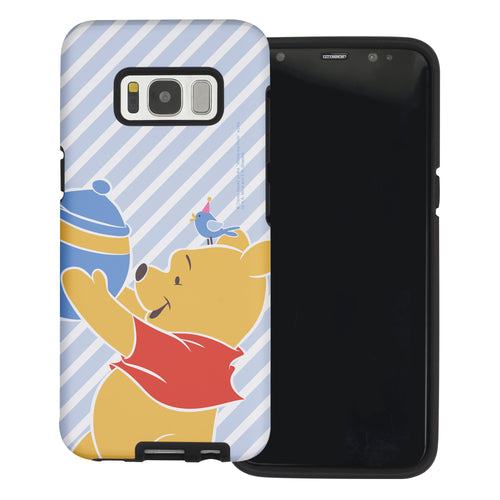 Galaxy S8 Plus Case Disney Pooh Layered Hybrid [TPU + PC] Bumper Cover - Stripe Pooh Bird