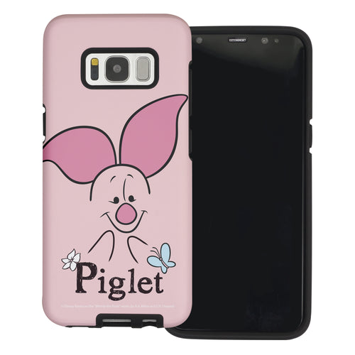 Galaxy S8 Case (5.8inch) Disney Pooh Layered Hybrid [TPU + PC] Bumper Cover - Face Line Piglet