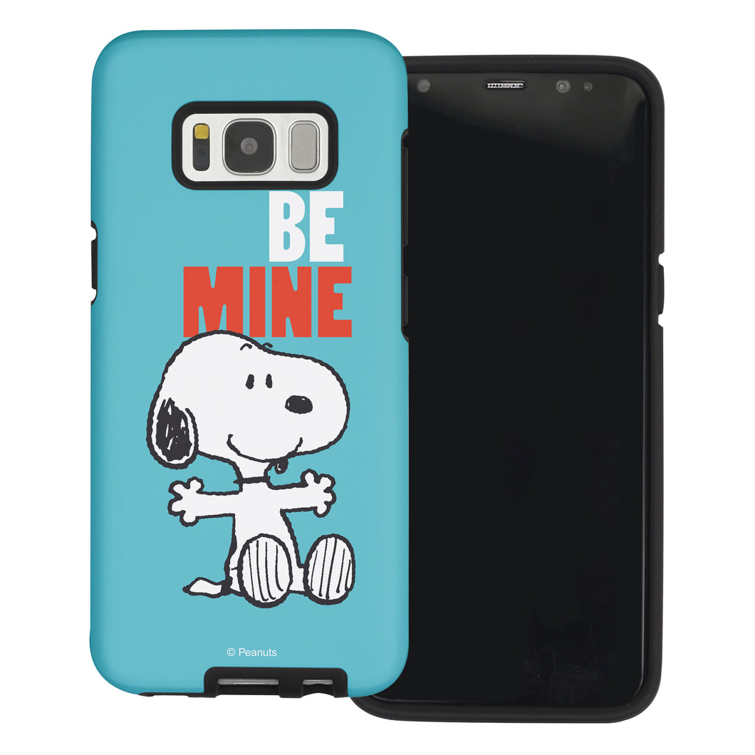 Galaxy S8 Case (5.8inch) PEANUTS Layered Hybrid [TPU + PC] Bumper Cover - Snoopy Be Mine Cyan