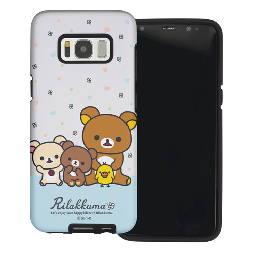 Galaxy S8 Plus Case Rilakkuma Layered Hybrid [TPU + PC] Bumper Cover - Rilakkuma Friends