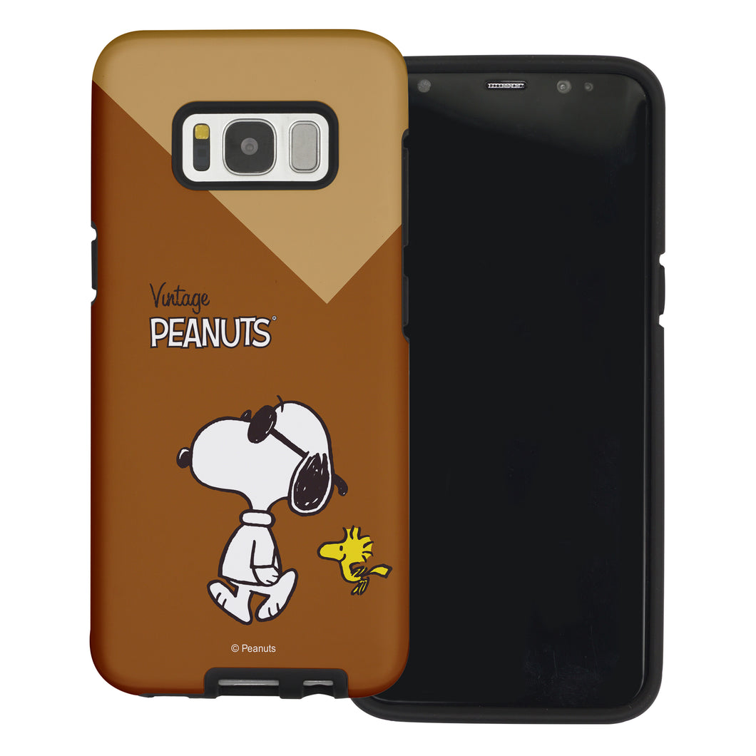 Galaxy S8 Case (5.8inch) PEANUTS Layered Hybrid [TPU + PC] Bumper Cover - Vivid Snoopy Woodstock